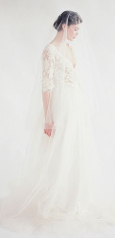 elbow length lace bodice, flowing skirt, Silk Tulle Veil