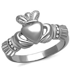 *** Claddagh Wedding Ring *** 316 Stainless Steel Wedding Ring *** Rust and Tarnish resistance *** It is hypo-allergenic Crown Engagement Ring, Engagement Ring Settings, Vintage Engagement Rings, Irish Rings, Pink Tourmaline Ring, Friendship Rings, Titanium Jewelry, Celtic Wedding Rings, Crystal Fashion