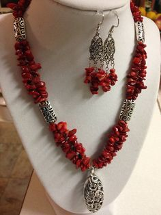 Red Coral Chip Necklace w/ Matching Earrings by LadyOzDesigns, $35.00