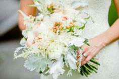 Bride's Bouquet Comprised Of: White Astilbe, Peach Juliet English Garden Roses, Peach Hypericum Berries + Dusty Miller