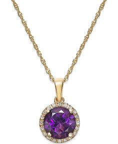Amethyst (1-1/10 ct. t.w.) and Diamond Accent Pendant Necklace in 14k Gold