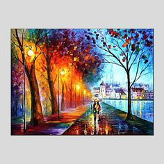 Oil+Paintings+Modern+Landscape+Rainy+Street+Canvas+Material+With+Wooden+Stretcher+Ready+To+Hang+SIZE:60*90CM.+.+–+EUR+€+44.09