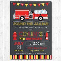 Firetruck Birthday Invitation Firetruck Invite Fire truck