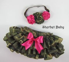 HANDMADE Triple Flower Headband and Daddy's Little Hunter Camo Sassy Pants Ruffle Diaper Cover Bloomer on Etsy, $44.00