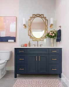 Combining two hot decorating trends of the season - navy blue and metallics. Combining two hot decorating trends of the season – navy blue and metallics! Combining two hot decorating trends of the season - navy blue and metallics! [From: Studio Steidley] Navy Blue Bathroom Decor, Navy Blue Bathrooms, Neutral Bathroom, Guest Bathrooms, Dream Bathrooms, Guest Bathroom Colors, Navy Blue Decor, Navy Blue Walls, Transitional Bathroom