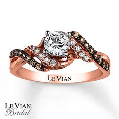 Le Vian Engagement Ring 3/4 ct tw Diamonds 14K Strawberry Gold