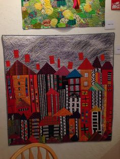 Another Cityscape by Freddie Moran in the Gallery at Back Porch Fabrics, Pacific Grove, CA.