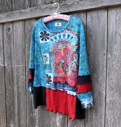 Upcycled Womens Tunic Blouse