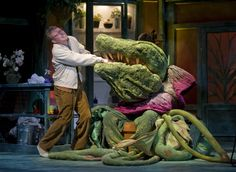 Jonathan Lee Cunningham with Audrey II in the monster musical hit LITTLE SHOP OF HORRORS at Theatre at the Center - www.theatreatthecenter.com