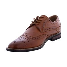 - Soft faux leather upper in dark brown - Slip on, lace up closure - Wing tip design for added style - Soft interior lining for a good shoe feel - Lightly cushioned and textured footbed provides all-d