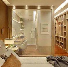 Banheiro quarto e closet integrado Small Apartment Interior, Dream Apartment, Master Bedroom, Bedroom Decor, Elegant Living Room, Condo Living, Suites, Scandinavian Home, Living Room Designs