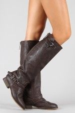 want these in tan!!!     Breckelle Outlaw-11 Buckle Riding Knee High Boot