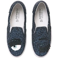 Chiara Ferragni Women 30mm Flirting Glitter Slip-on Sneakers ($230) ❤ liked on Polyvore featuring shoes, sneakers, chiara ferragni, blue, slip on shoes, slip on sneakers, glitter wedge sneakers, wedge trainers and blue glitter shoes
