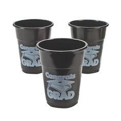"""Black """"Congrats Grad"""" Disposable Cups - OrientalTrading.com"""