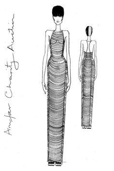 Fashion illustration - dress sketch; fashion design drawing // Tom Ford