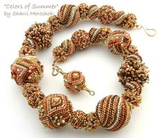 This Beaded Bead Necklace was inspired by the Colors of Summer - memories of summer beaches, ripe peaches and the fragrance of salt air and sweet flowers.