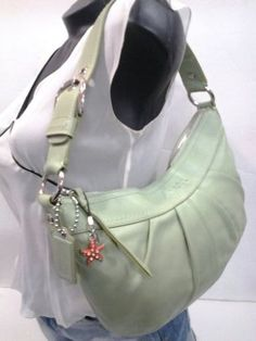 Coach-Green-Leather-Handbag-Pistachio-Pleated-Hobo-Shoulder-Bag-F13730-Mint