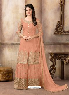 Buy Salmon Orange Silk Sharara Suit With Zari Work Online - Salmon Color Silk Embroidered Sharara Suit Shadi Dresses, Pakistani Formal Dresses, Indian Gowns Dresses, Indian Fashion Dresses, Pakistani Dress Design, Indian Designer Outfits, Designer Dresses, Indian Outfits, Sharara Designs