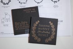 Letterpressed business cards by Satsuma Press for Shanna Murray. Letterpress gold ink on black paper, with washi tape to close card (inside is a freebie decal). #letterpress #business_card #packaging
