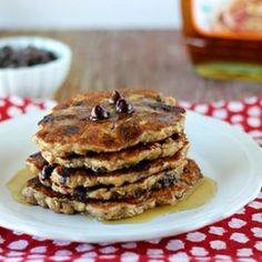 Vegan {gluten free & refined sugar free} Chocolate Chip Oat Pancakes that are tasty enough to make a pancake hater fall in love with this recipe. Oats Recipes, Whole Food Recipes, Vegan Recipes, Brunch Recipes, Pancake Recipes, Sweets Recipes, Breakfast Recipes, Desserts, Oat Pancakes