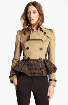 Burberry Prorsum Plaid Peplum Crop Jacket | Nordstrom