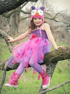 Purple Pink Tutu Dress and Crochet Owl Hat by HandpickedHandmade, $28.99 Big Girls Tween Tutu Outfits Halloween Costume Birthday Party Dress. Perfect for a LOOK WHO'S TURNING _____ PARTY with an owl theme.  Owl lovers will adore this  Can come with a feather tail attachment also Other colors available. Unique design fun together or a separates fun photo prop Vintage button eyes on hat Tufted ears Cute girly colors Cute to hang for decoration in girls room dress up play area