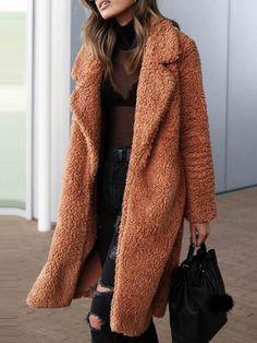 1f8f8dcafcbf8e Loose Fit Long Sleeve Notched Lapel Women s Winter Overcoat