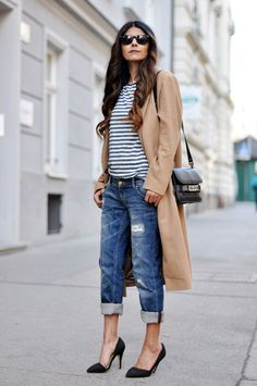 boyfriend jeans and heels, nautical and winter, the ultimate contradiction and perfection