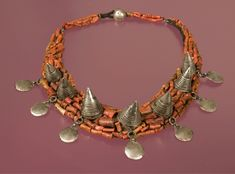 Morocco | Coral and silver necklace. 20th century | Highlights from the Permanent collection at the World Jewellery Museum in South Korea