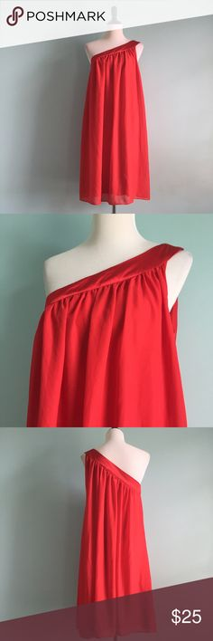 Red One-Shoulder Dress Red one-shoulder Greek goddess-inspired dress. Very flowy and comfortable. Sayin-like fabric on neckline and strap and more flowy fabric on skirt. Size 16 by Lane Bryant. In great condition! Lane Bryant Dresses One Shoulder
