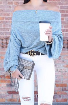 women's gray off-shoulder top and white denim jeans outfit Autumn Fashion Casual, Winter Fashion Outfits, Winter Outfits, Summer Outfits, Women's Fashion, White Ripped Jeans, White Jeans Outfit, Jean Outfits, Cute Outfits