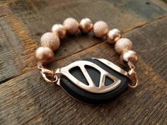 Bellabeat Urban Rose Gold Leaf Accessory - textured rose gold beads by dooglelinhk on Etsy