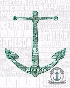 Maryland Cities Typography Anchor Wall Decor by BrandiFitzgerald, $19.99