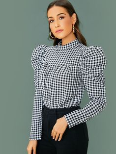 To find out about the Leg-of-mutton Sleeve Crinkle Front Gingham Top at SHEIN, part of our latest Blouses ready to shop online today! Stylish Dress Designs, Stylish Dresses, Leg Of Mutton Sleeve, Sewing Blouses, What To Wear Today, Pants For Women, Clothes For Women, One Shoulder Tops, Types Of Sleeves