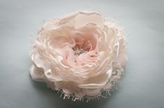 Items similar to Bridal Flower hair clip or sash pin, ivory and pale blush pink, rhinestone button and vintage style lace on Etsy Wedding Hair Flowers, Bridal Flowers, Lace Flowers, Flowers In Hair, Fabric Flowers, Pink Champagne Wedding, Bling Wedding, Vintage Beach Weddings, Vintage Wedding Hair