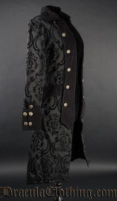 This high quality coat was inspired by pirates and officers, and is made in a rich, black and black cotton jacquard which we custom made. Gothic Fashion Men, Steampunk Fashion, Steampunk Couture, Gothic Mode, Victorian Costume, Medieval Clothing, Gothic Outfits, Costume Design, Mantel