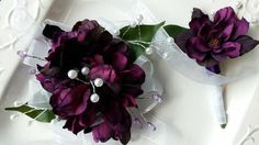 Prom Corsage and Boutonniere Set Dark by SterlingCottageShop