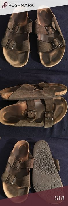 BIRKENSTOCK MENS SUEDE LEATHER SANDALS 44 SIZE 11 PREOWNED WORN STILL STRONG BIRKENSTOCK BROWN SUEDE 2 STRAP MENS SANDALS SIZE IS 44. USA MENS 11 Birkenstock Shoes Sandals