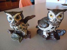 Set of 2 Vintage Ceramic Owl Figures Noleans Japan