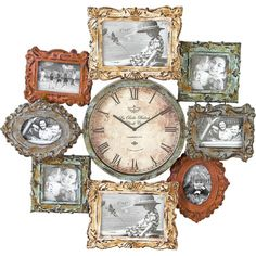 Weathered Wall Clock & Picture Frame Decor.