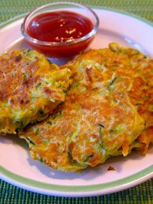 Veggie Pancakes - delicious! I doubled the recipe to freeze them and used a mixture of whole wheat flour, all purpose flour, and wheat germ.
