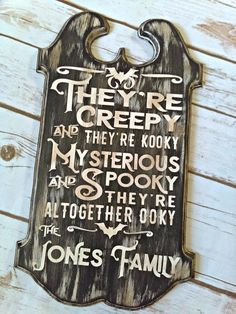 Halloween Decor, Personalized Halloween Sign, Addams Family Sign Personalized, Gothic Decor, Black home Decor Halloween Decor Fall Decorations Personalized Halloween Halloween Home Decor, Halloween Signs, Diy Halloween Decorations, Halloween House, Holidays Halloween, Halloween Crafts, Fall Decorations, Halloween Party, Halloween Stuff