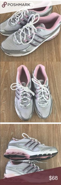 ADIDAS BOOST PINK AND GRAY SNEAKERS (rare color) 💗Condition: Excellent used conditions, No flaws, no rips, holes or stains as you see in pictures. No smell inside.  💗Smoke free home/Pet hair free 💗No trades, No returns. No modeling  💗 If you want to resell the item, yes, you are allowed to use my photos. 💗Shipping next day. Beautiful package! 💗ALL ITEMS ARE OWNED BY ME. NOT FROM THRIFT STORES 💗All transactions video recorded to ensure quality.  💗Ask all questions before buying adidas…