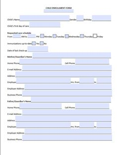 Medical Record Form For Child Care Editable  Medical Tot