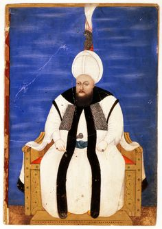 """Miniature from a Silsile-name. """"Portrait of Sultan Mustafa III""""   Turkey, Istanbul; 2nd half of 18th century"""