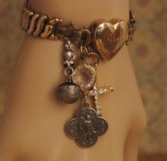 WWII Sweetheart Expansion Bracelet Assemblage Religious