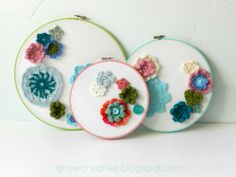 flower embroideri, embroideri hoop, crochet flowers, wall decor, diy crafts, crocheted flowers, grow creativ, embroidery hoops, parti