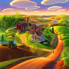 Spring on the Farm Painting  - Spring on the Farm Fine Art Print  http://fineartamerica.com