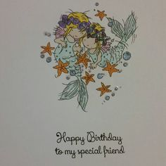 Mermaids special friends birthday card by PitterPatterPotsy