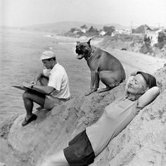 Bette Davis and her husband William Grant Sherry on the beach in California - 1947